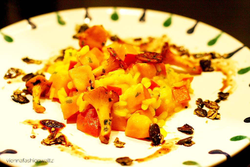 Kürbis-Risotto mit Eierschwammerl