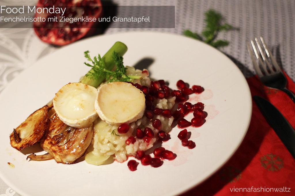 Fenchelrisotto mit Ziegenkäse & Granatapfelkernen