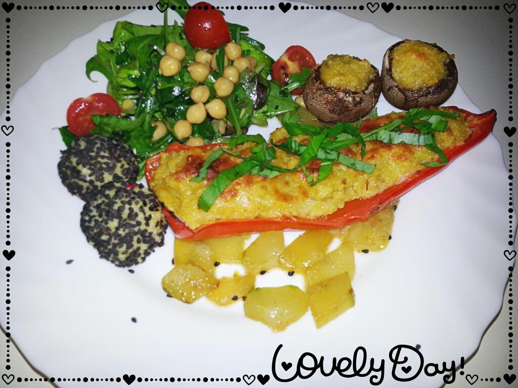 Gefülltes Gemüse mit Chili-Schmorgurken