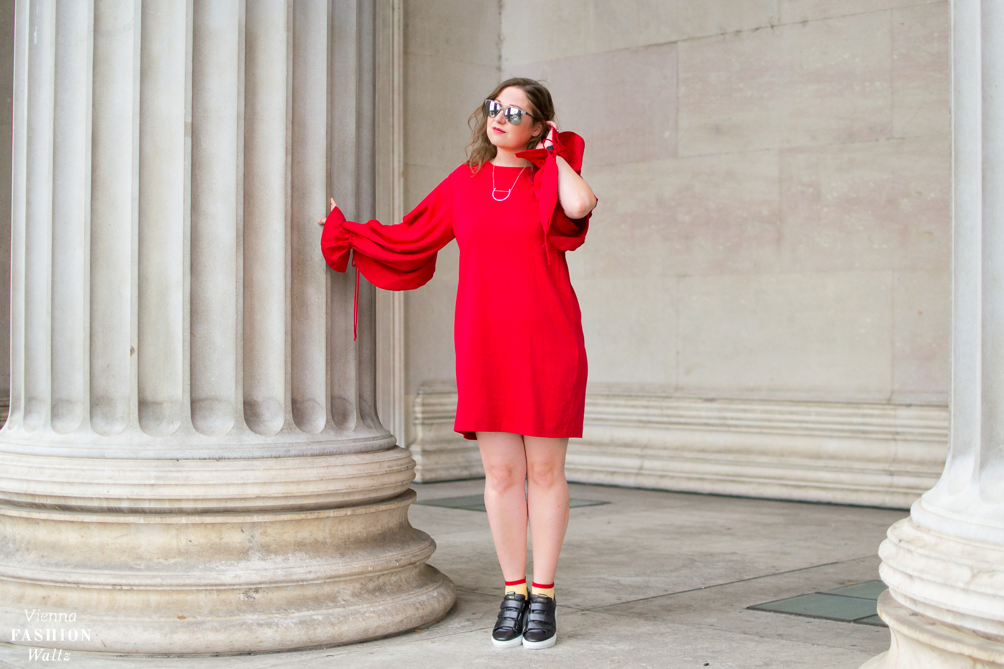Oversized Red Sweatshirt Dress Outfit with Sneakers