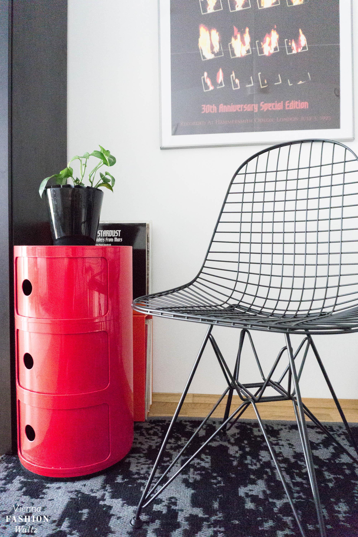 Eames Componibili, Kartell, Designklassiker fürs rote Vintage Esszimmer, Vitra Wire Chair, rot, Wohnideen,